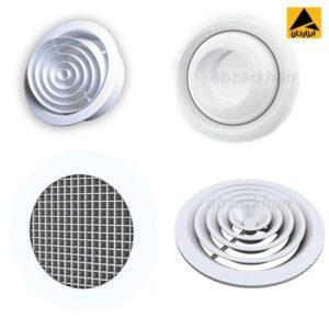 دریچه گرد در نوع مصالح متشکله به دو نوع پلاستیکی و آلومینیومی دسته بندی می شوند ولی از نظر شکل ظاهری در اغلب موارد مشابه یکدیگر بوده و تنها بنابر نوع کاربری تفکیک شده و به کار گرفته می شوند.